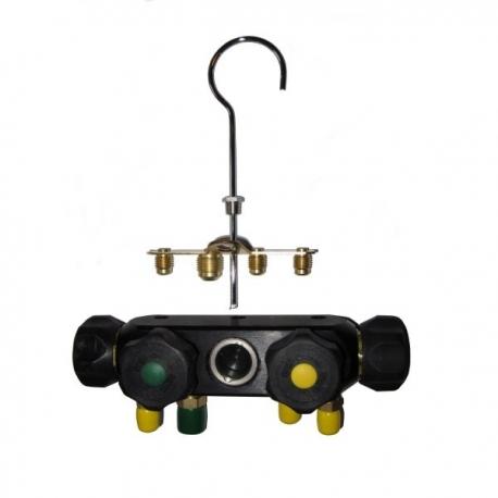 Corp baterie freon cu 4 robineti pentru 2 manometre, MV4 CPS