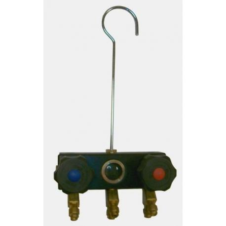 Corp baterie cu 2 robineti pentru 2 manometre